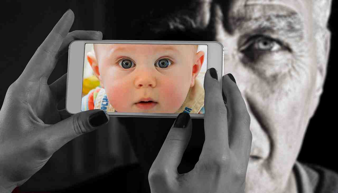 smartphone, face, l'homme
